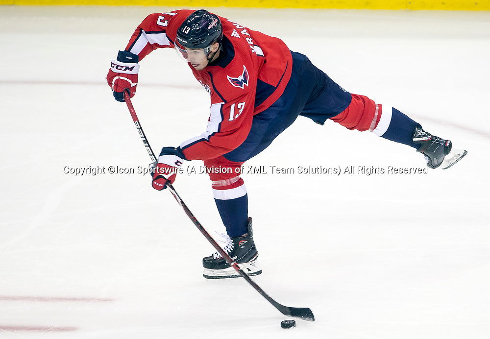 WASHINGTON, DC - MAY 21: Washington Capitals left wing Jakub Vrana (13) winds up a shot during game 6 of the NHL Eastern Conference  Finals between the Washington Capitals and the Tampa Bay Lightning, on May 21, 2018, at Capital One Arena, in Washington D.C. The Caps defeated the Lightning 3-0<br /> (Photo by Tony Quinn/Icon Sportswire)