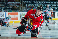 KELOWNA, CANADA - APRIL 8: Bronson Sharp #11 of the Portland Winterhawks warms up against the Kelowna Rockets on April 8, 2017 at Prospera Place in Kelowna, British Columbia, Canada.  (Photo by Marissa Baecker/Shoot the Breeze)  *** Local Caption ***