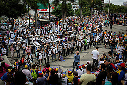May 24, 2017 - Caracas, Capital District, Venezuela - Hundreds of Venezuelans opponents tried to march to the headquarters of the CNE from Parque Cristal. On the 54th day of demonstrations that left at least 55 people dead, opponents concentrated on two points in eastern Caracas and one in the west of the city to travel to the National Electoral Council (CNE), in the capital city. Course was interrupted by security forces. The Bolivarian National Guard (GNB) reprehended again protesters in Bello Monte. (Credit Image: © Adrian Manzol via ZUMA Wire)