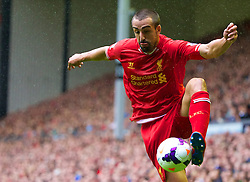 17.08.2013, Anfield, Liverpool, ENG, Premier League, FC Liverpool vs Stoke City, 1. Runde, im Bild Liverpool's Jose Enrique in action against Stoke City during the Premiership match at Anfield during the English Premier League 1st round match between Liverpool FC and Stoke City FC at Anfield, Liverpool, Great Britain on 2013/08/17. EXPA Pictures © 2013, PhotoCredit: EXPA/ Propagandaphoto/ David Rawcliffe<br /> <br /> ***** ATTENTION - OUT OF ENG, GBR, UK *****