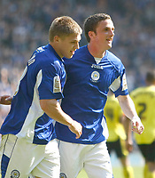 Photo: Steve Bond/Richard Lane Photography. Leicester City v Watford. Coca Cola Championship. 17/04/2010. Scorer Martyn Waghorn (L) celebrates with Andy King