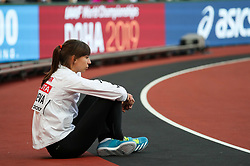 London, August 12 2017 . Mirela Demireva, Bulgaria, waits the start of the women's high jump final on day nine of the IAAF London 2017 world Championships at the London Stadium. © Paul Davey.