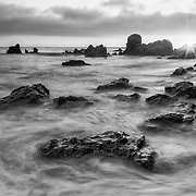 Corona Del Mar Tide Pools - High Tide - Sunset - Black & White