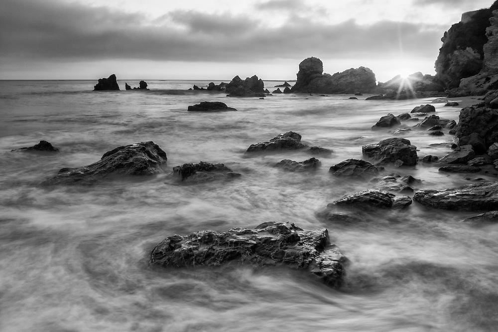 Corona Del Mar Tide Pools - High Tide - Sunset - Black & White