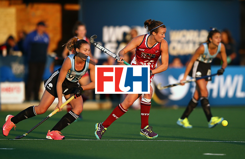 JOHANNESBURG, SOUTH AFRICA - JULY 14:  Loren Shealy of United States of America controls the ball from Florencia Habif of Argentina during day 4 of the FIH Hockey World League Semi Finals Pool B match between the United States and Argentinat Wits University on July 14, 2017 in Johannesburg, South Africa.  (Photo by Jan Kruger/Getty Images for FIH)
