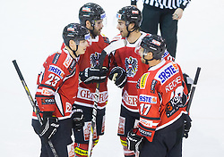 Players of Austria celebrate during Friendly Ice-hockey match between National teams of Slovenia and Austria on April 19, 2013 in Ice Arena Tabor, Maribor, Slovenia. (Photo By Vid Ponikvar / Sportida)