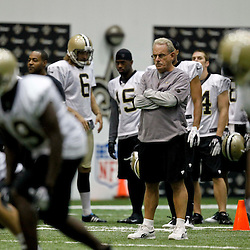 July 27, 2012; Metairie, LA, USA; New Orleans Saints assistant head coach and linebackers coach Joe Vitt during training camp at the team's indoor practice facility. Mandatory Credit: Derick E. Hingle-US PRESSWIRE