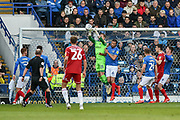 Portsmouth Goalkeeper, Craig MacGillivray (15) makes a save during the EFL Sky Bet League 1 match between Portsmouth and Accrington Stanley at Fratton Park, Portsmouth, England on 4 May 2019.