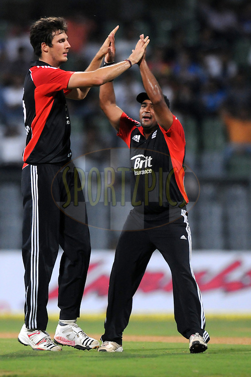 Steven Finn of England celebrates the wicket of Parthiv patel of India during the 4th One Day International ( ODI ) match between India and England held at the Wankhede Stadium, Mumbai on the 23rd October 2011..Photo by Pal Pillai/BCCI/SPORTZPICS