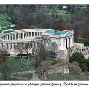 aerial view of the tomb of the unknown soldier, the memorial amphitheater at arlington national cemetary.