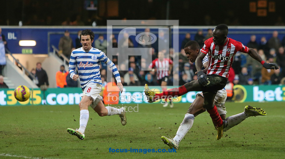Nedum Onuoha of Queens Park Rangers can't stop Sadio Mane of Southampton from scoring the winner during the Barclays Premier League match at the Loftus Road Stadium, London<br /> Picture by John Rainford/Focus Images Ltd +44 7506 538356<br /> 07/02/2015