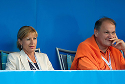 Mimi Jausovec and Marko Umberger, president of TZS and  Slavko Rasberger, director of ATP tennis tournament in Umag watching the first semifinal match of Singles at Banka Koper Slovenia Open WTA Tour tennis tournament, on July 24, 2010 in Portoroz / Portorose, Slovenia. (Photo by Vid Ponikvar / Sportida) / SPORTIDA PHOTO AGENCY