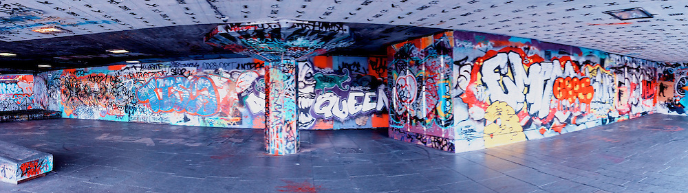 Graffiti or art?  Contemporary wall design beneath the South Bank Centre on London's South Bank (Thames)