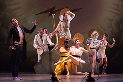 """© Licensed to London News Pictures. 16/06/2015. London, UK. Philippe Decouflé Company DCA perform """"Contact"""" - a """"musical about musicals"""" at Sadler's Wells Theatre from 16 to 18 June 2015. Photo credit: Bettina Strenske/LNP"""