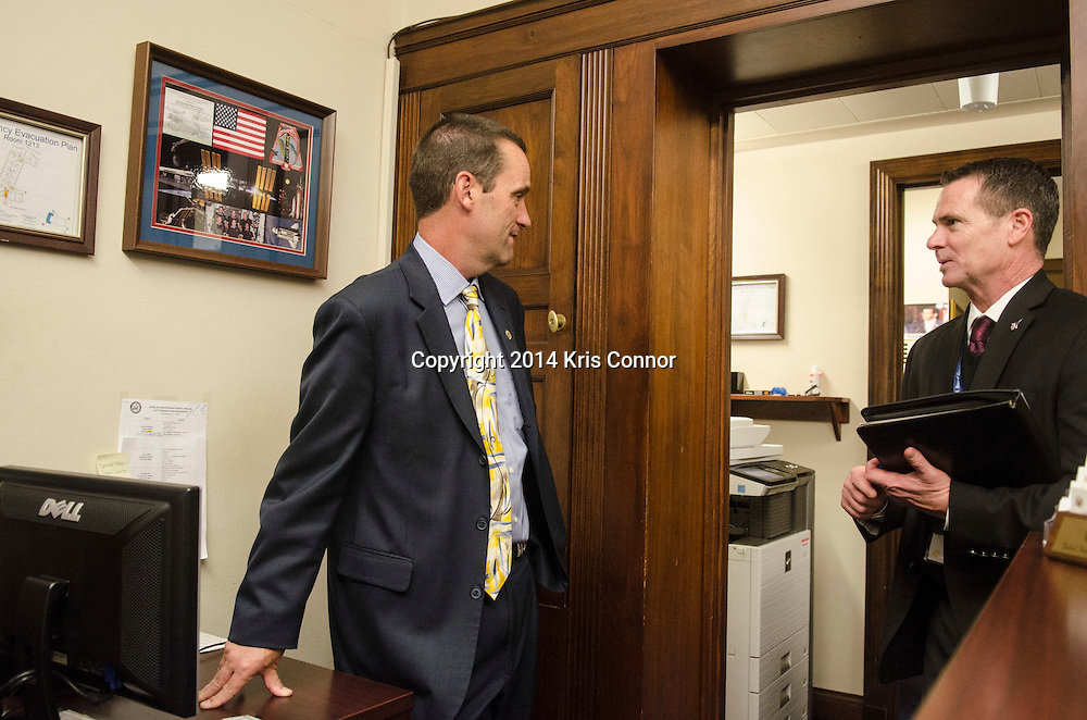 Representative-elect Steve Knight(CA-25) speaks with Chief of Staff David Orosco in Rep. Joseph Kennedy III's (MA-04) office in the Longworth House Office Building about possible office selection on November 19, 2014. Knight drew first choice in the House of Representatives' new members office lottery earlier in the day. Photo by Kris Connor