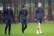 Hearts captain, Christophe Berra (right) returns to training for the first time since his hamstring injury, ahead of the SPFL Premiership match between Hearts v St Mirren at Oriam Sports Performance Centre, Riccarton, Edinburgh, Scotland on 22 November 2018.
