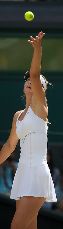 LONDON, ENGLAND - Saturday, July 2, 2011: Maria Sharapova (RUS) in action during the Ladies' Singles Final on day twelve of the Wimbledon Lawn Tennis Championships at the All England Lawn Tennis and Croquet Club. (Pic by David Rawcliffe/Propaganda)