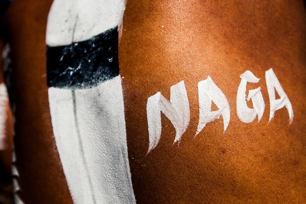 "A tribesman's back is decorated with a painting of a hornbill feather and the word ""Naga"" at the Hornbill Festival in Nagaland, India."