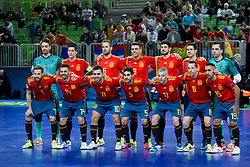 Players of team Spain during futsal match between Spain and France at Day 2 of UEFA Futsal EURO 2018, on January 31, 2018 in Arena Stozice, Ljubljana, Slovenia. Photo by Urban Urbanc / Sportida