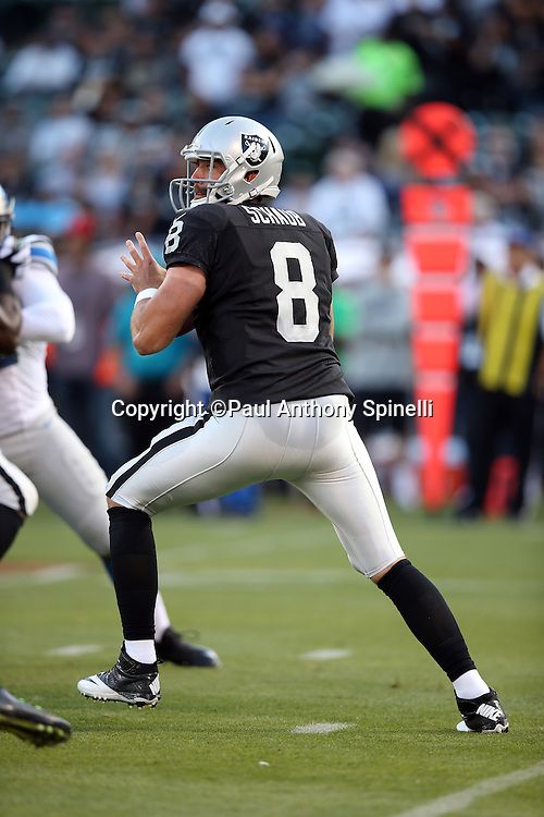 Oakland Raiders quarterback Matt Schaub (8) drops back to pass during the 2014 NFL preseason football game against the Detroit Lions on Friday, Aug. 15, 2014 in Oakland, Calif. The Raiders won the game 27-26. ©Paul Anthony Spinelli