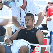 2017 U.S. Open Tennis Tournament - DAY THREE.  Nick Kyrgios of Australia receives treatment during his match with John Millman of Australia during the Men's Singles round one match at the US Open Tennis Tournament at the USTA Billie Jean King National Tennis Center on August 30, 2017 in Flushing, Queens, New York City.  (Photo by Tim Clayton/Corbis via Getty Images)