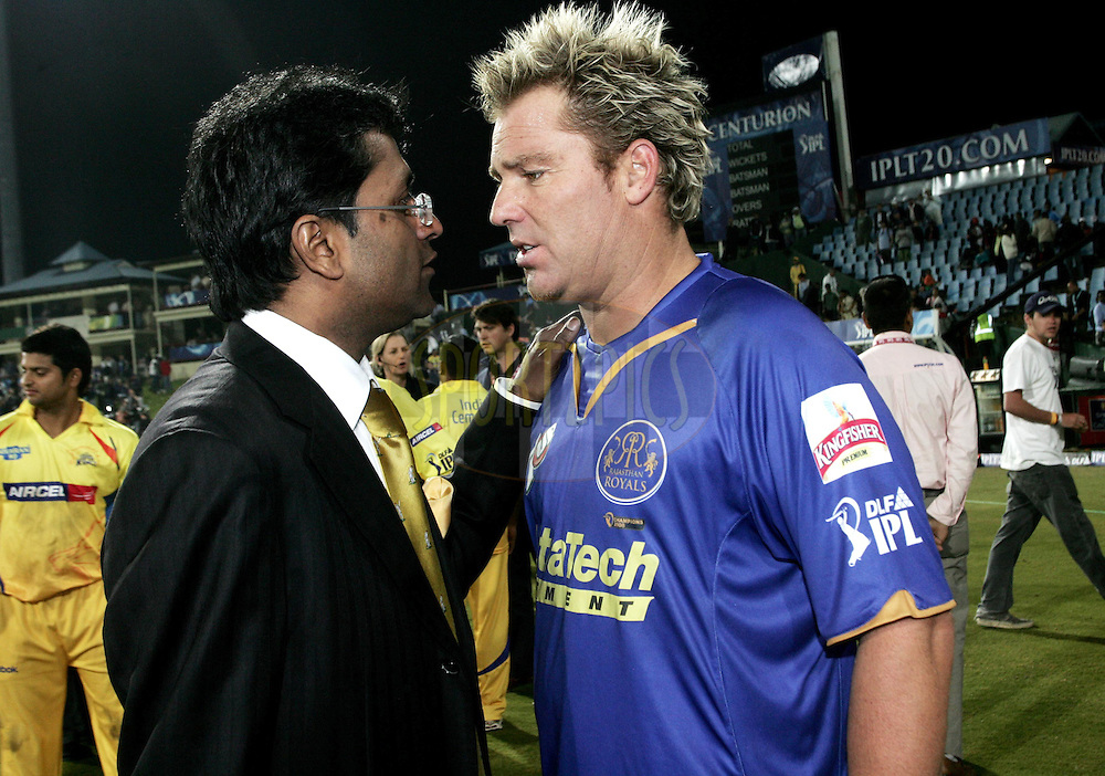 CENTURION, SOUTH AFRICA - 30 April 2009.  during the  IPL Season 2 match between the Rajasthan Royals and the Chennai Superkings held at  in Centurion, South Africa. Shane Warne.
