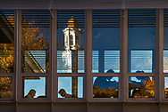 Photo by Mark DiOrio<br /> Colgate University students work in a lounge area at Persson Hall with a view of late day sunlight illuminating Memorial Chapel, October 18, 2016 in Hamilton, N.Y.