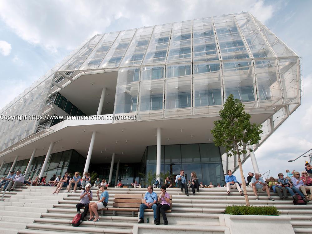 Headquarters of Unilever on riverside promenade in new Hafencity property development in Hamburg Germany
