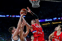 Gasper Vidmar of Slovenia vs Vladimir Lucic of Serbia during the Final basketball match between National Teams  Slovenia and Serbia at Day 18 of the FIBA EuroBasket 2017 at Sinan Erdem Dome in Istanbul, Turkey on September 17, 2017. Photo by Vid Ponikvar / Sportida