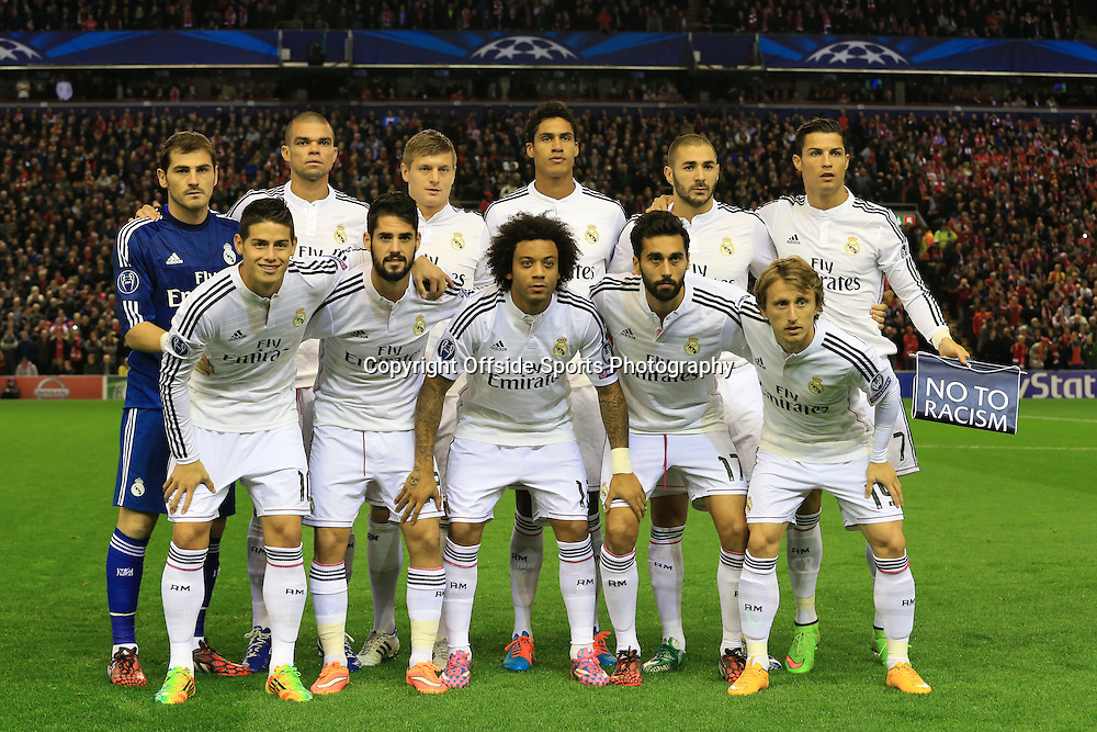 22nd October 2014 - UEFA Champions League - Group B - Liverpool v Real Madrid - Real team group - Photo: Simon Stacpoole / Offside.