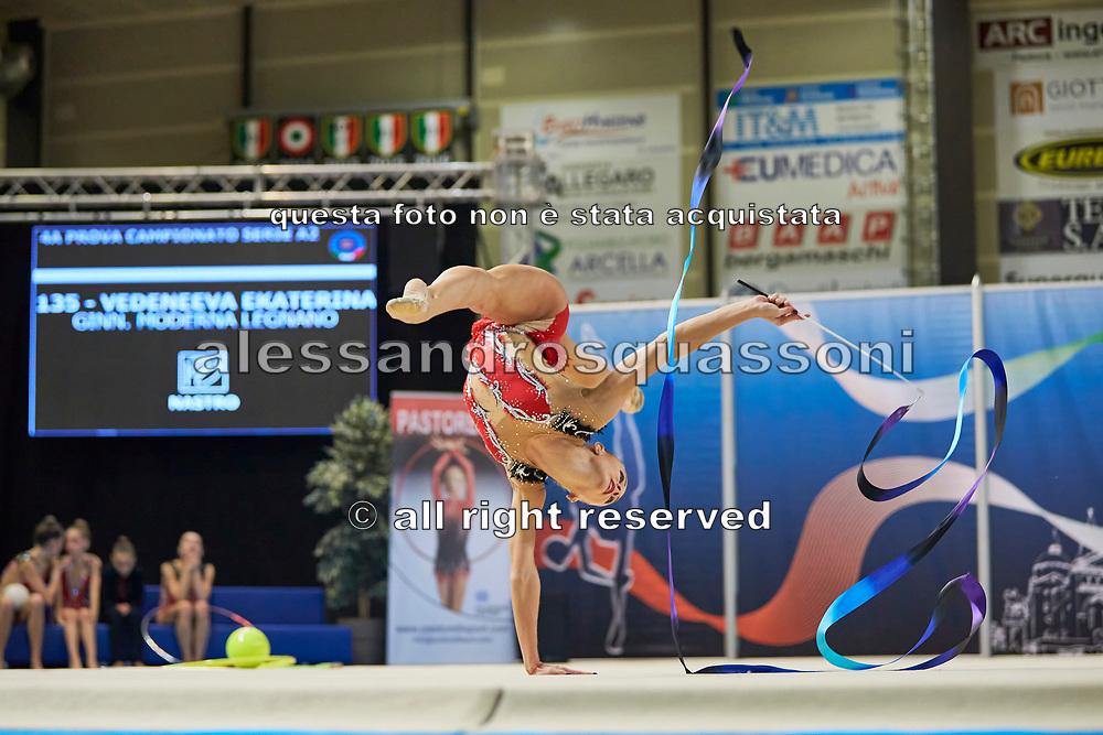 Ekaterina Vedeneeva from Moderna Legnano team during the Italian Rhythmic Gymnastics Championship in Padova, 25 November 2017.
