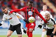 OSTERSUND, SWEDEN - APRIL 21: Brendan Hikes-Ine of Orebro SK, Alhaji Gero of Ostersunds FK and Daniel Bjornquist of Orebro SK during the Allsvenskan match between Ostersunds FK and Orebro SK at Jamtkraft Arena on April 21, 2018 in Ostersund, Sweden. Photo by Nils Petter Nilsson/Ombrello ***BETALBILD***