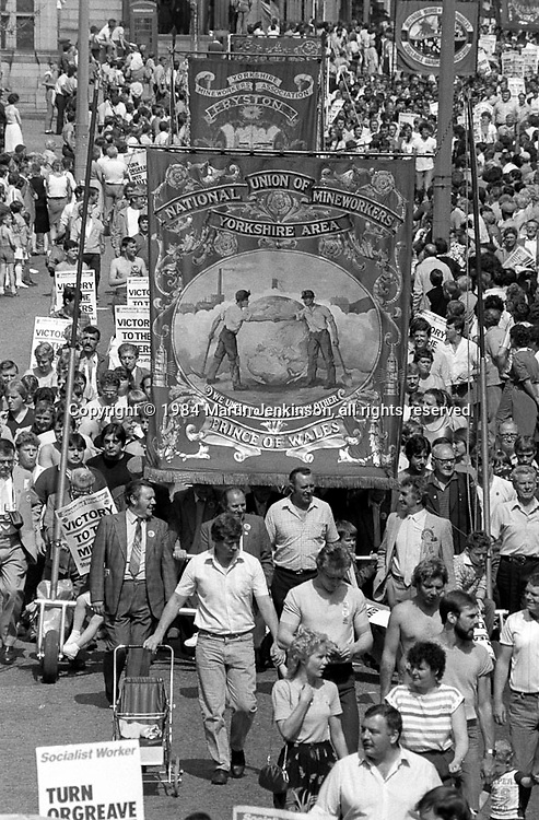 Prince of Wales and Fryston banners, 1984 Yorkshire Miner's Gala. Wakefield.
