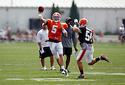 Cleveland Browns quarterback Brett Ratliff (5) throws a pass during NFL football training camp at the Cleveland Browns Training Complex on Monday, August 9, 2010 in Berea, Ohio. (©Paul Anthony Spinelli)