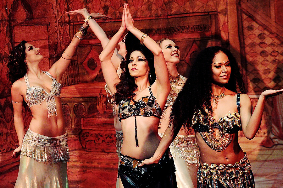 "The Bellydance Superstars perform at Benaroya Hall's Nordstrom Recital Hall in Seattle, Washington on January 30, 2007. The multi-ethnic company's United States tour ""Raqs Carnivale"" infuses the traditional bellydancing forms with the choreography of samba, salsa and flamenco."