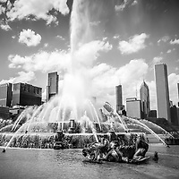 Chicago Buckingham Fountain black and white picture. Clarence F. Buckingham Memorial Fountain is located in Grant Park and is one of Chicago's most popular and well known attractions.
