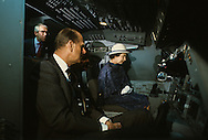The queen and Duke of Edinborough look at a space shuttle simulator during the visit of Queen Elizabeth II to California in March 1983...Photograph by Dennis Brack bb23