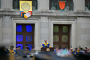 University of Rochester President Joel Seligman speaks at the Commencement ceremony in Rochester on Sunday, May 15, 2016.