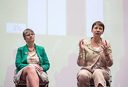 © Licensed to London News Pictures.  26/05/2017; Bristol, UK. General Election 2017; MOLLY SCOTT CATO and CAROLINE LUCAS. Green Party campaign in their number one target seat, Bristol West where they hope to gain their second Green MP with candidate Molly Scott Cato (currently MEP for the south west of England). Molly spoke with Green Party co-leader, the Green Party's only MP to date, and deputy leader Amelia Womack at a Bristol Green Society event at the University of Bristol Students Union Winston Theatre.<br /> Picture credit : Simon Chapman/LNP