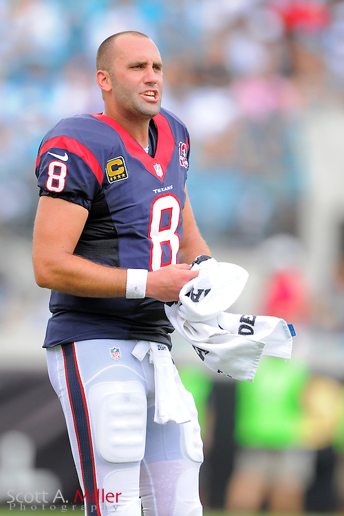 Houston Texans quarterback Matt Schaub (8) with his helmet off during the NFL game between the Texans and the Jacksonville Jaguars, at EverBank Field on September 16, 2012 in Jacksonville, Florida. The Texans won 27-7...©2012 Scott A. Miller.