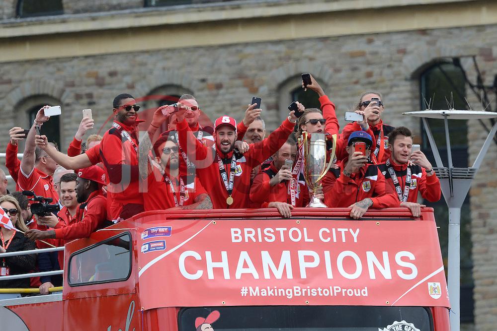 Bristol City players celebrate as they reach Lloyds  Amphitheater - Photo mandatory by-line: Dougie Allward/JMP - Mobile: 07966 386802 - 04/05/2015 - SPORT - Football - Bristol -  - Bristol City Celebration Tour