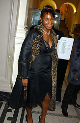 Singer SONIQUE at a fashion show and after party to celebrate the 20th Anniversay of fashion designer Ozwald Boateng held at the Victoria & Albert Museum, London on 25th November 2005.<br />