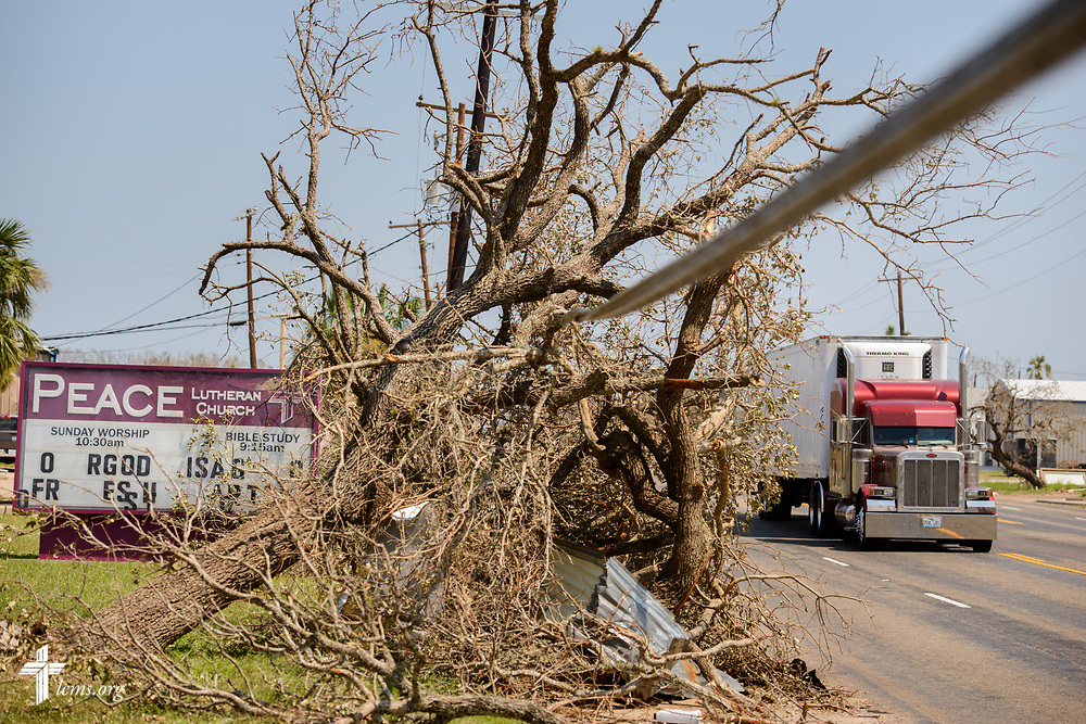 Tree limbs shredded by Hurricane Harvey litter the street next to Peace Lutheran Church, Rockport, Texas, on Thursday, Aug. 31, 2017, in Texas. The church was largely spared by the catastrophic storm. LCMS Communications/Erik M. Lunsford