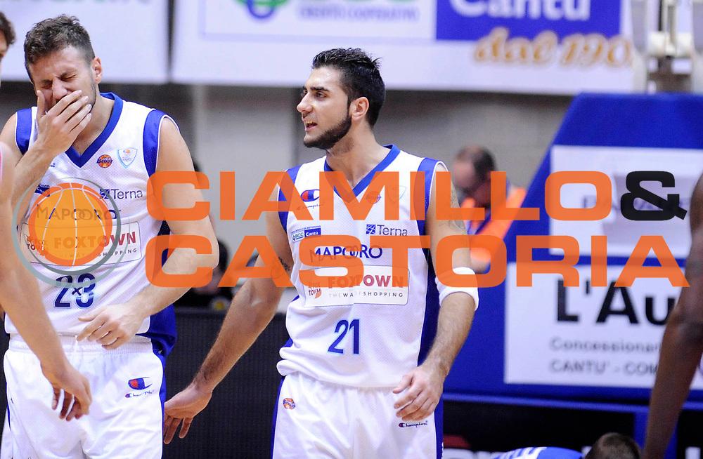 DESCRIZIONE : Desio Lega A 2012-13 Pallacanestro Cantu' Cimberio Varese<br /> GIOCATORE : Stefano Mancinelli e Pietro Aradori<br /> SQUADRA : Pallacanestro Cantu' <br /> EVENTO : Campionato Lega A 2012-2013<br /> GARA :  Pallacanestro Cantu' Cimberio Varese<br /> DATA : 24/02/2013<br /> CATEGORIA : Fallo Subito<br /> SPORT : Pallacanestro<br /> AUTORE : Agenzia Ciamillo-Castoria/A.Giberti<br /> Galleria : Lega Basket A 2012-2013<br /> Fotonotizia : Desio Lega A 2012-13 Pallacanestro Cantu' Cimberio Varese<br /> Predefinita :