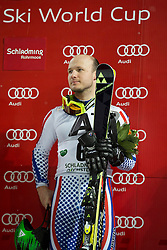 27.01.2015, Planai, Schladming, AUT, FIS Skiweltcup Alpin, Schladming, Siegerehrung, im Bild Alexander Khoroshiov (RUS) // Alexander Khoroshiov (RUS) during the prize giving ceremony of the men's slalom of Schladming FIS Ski Alpine World Cup at the Planai Course in Schladming, Austria on 2015/01/27, EXPA Pictures © 2015, PhotoCredit: EXPA/ Erwin Scheriau