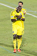 FRISCO, TX - SEPTEMBER 29:  Dominic Oduro #11 of the Columbus Crew celebrates after scoring a goal in the first half against FC Dallas on September 29, 2013 at Toyota Stadium in Frisco, Texas.  (Photo by Cooper Neill/Getty Images) *** Local Caption *** Dominic Oduro