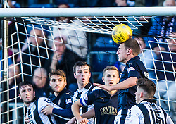 Falkirk's Bob McHugh heads clear. <br /> Falkirk 3 v 0 St Mirren. Scottish Championship game played 21/10/2015 at The Falkirk Stadium.