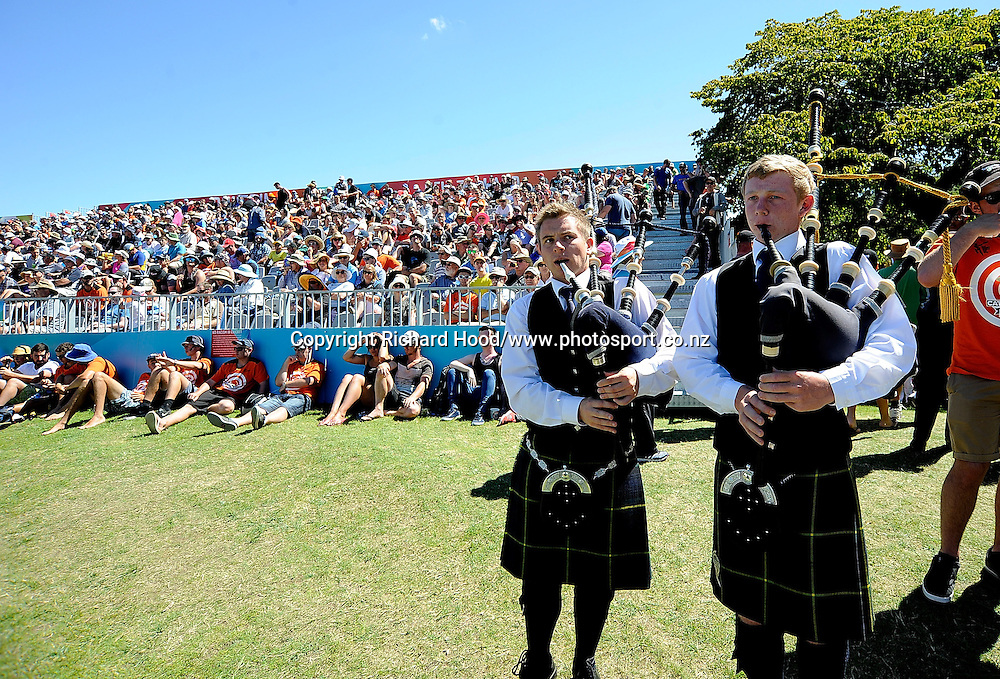 Bag Pipers during the ICC Cricket World Cup match between New Zealand and Scotland at university oval in Dunedin, New Zealand. Photo: Richard Hood/photosport.co.nz