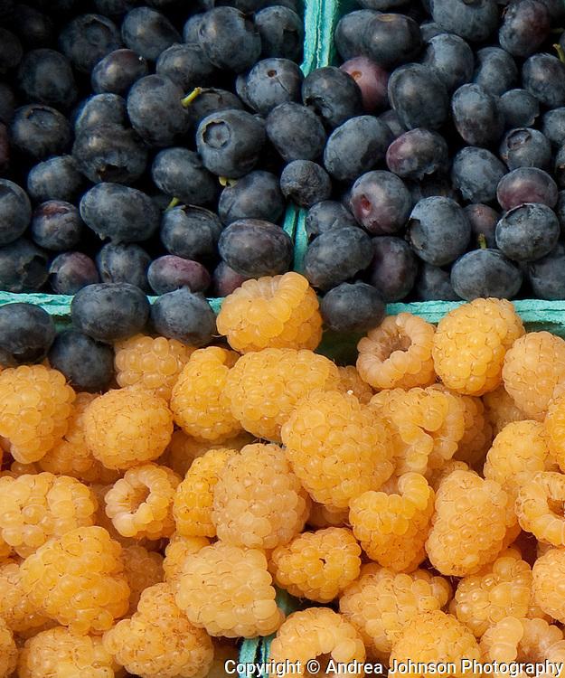 Fresh strawberries, raspberries, and blueberries at Portland Farmer's Market, Oregon