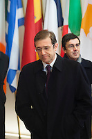 Pedro Passos Coelho, Prime minister of Portugal, leaving the  EU Budget summit at the European Council building for a break in Brussels, Friday, Feb. 8, 2013. A European Union summit to decide EU spending for the next seven years entered a second day after all-night negotiations left a standoff over spending unresolved. The leaders of the 27 nations inched toward a compromise Friday that would leave their common budget with a real-term cut for the first time in the EU's history.